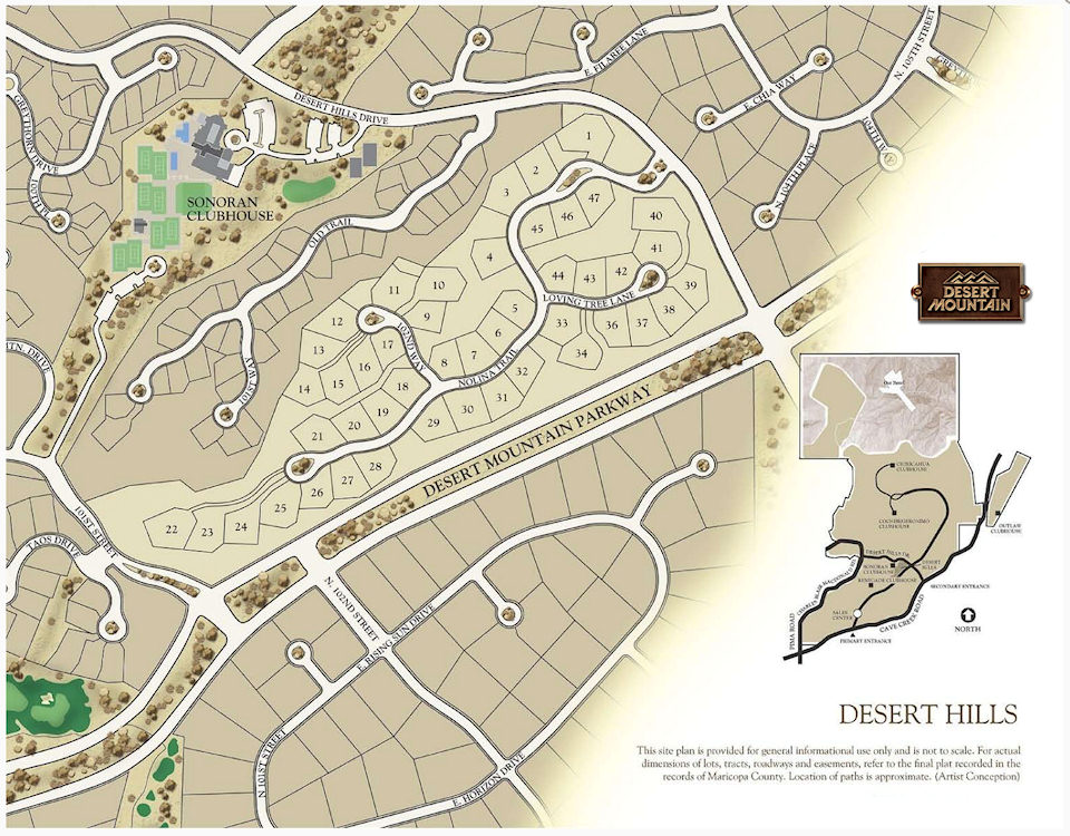 Desert Hills Map in Desert Mountain Scottsdale Arizona