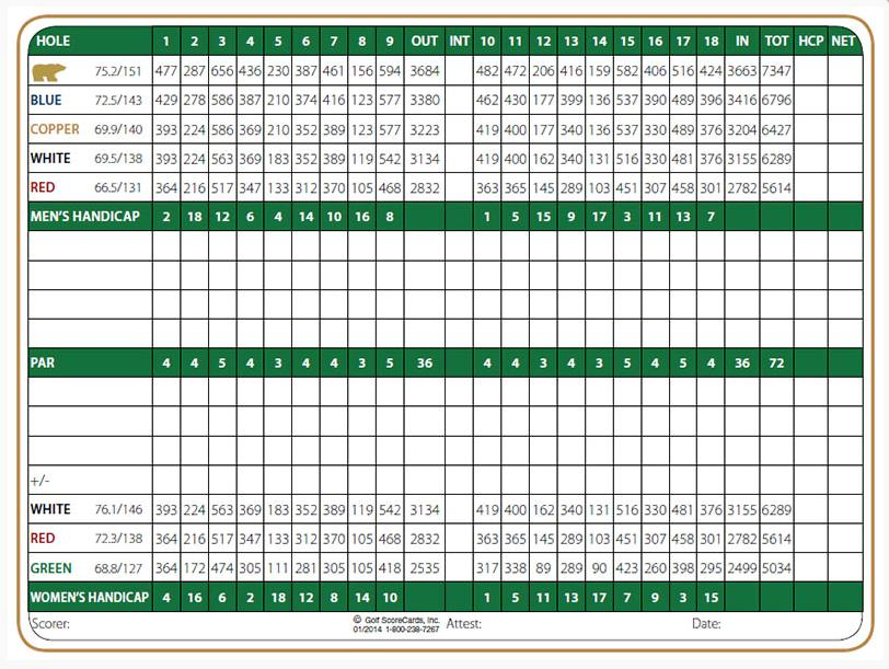 Chiricahua Golf Course Scorecard
