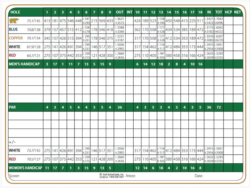 Cochise Golf Course Scorecard