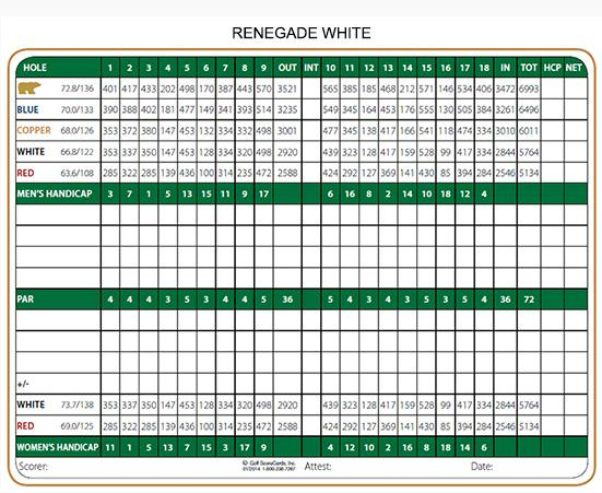 Renegade Golf Course White Scorecard